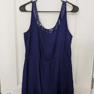 Navy Blue dress with sequin collar
